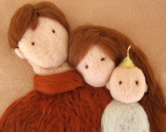 """3D NeedleFelted Tapestry - Family - Wool Needle Felted  Painting - Art - """" Now we are three """" - Made to order"""