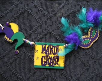 Mardi Gras Welcome  3 piece Charm with Rope for Welcome Sign or Wreath