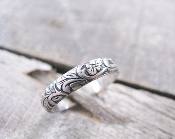 Sterling silver floral band