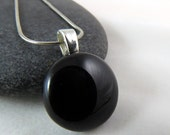 Little Black Pendant Necklace- Modern Fused Glass