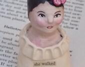 She Walked Into The Sunset Garden... Original,Contemporary, Folk, Hand Sculpted Clay Art Doll Bust