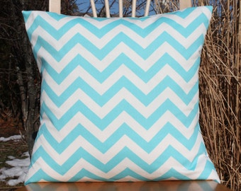 Twirly Turquoise Blue Chevron Pillow Cover