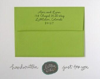 Address Stamp: Handwritten Script, self-inking or red rubber