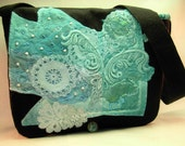 Large Black Messenger Bag with Turquoise Hand-Dyed Lace Embellishment