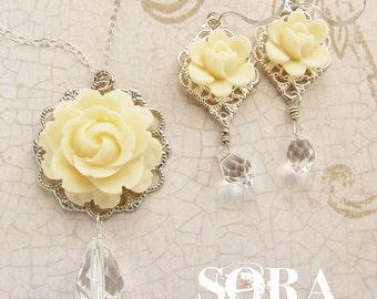 Bridal jewelry set, wedding jewelry, bridal ivory rose necklace, Swarovski crystal teardrop custom wedding jewelry set