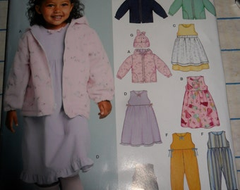 Another Cute NEW LOOK pattern 6419 - sizes half to size 4 - Coat Hat Dress Apron jumper