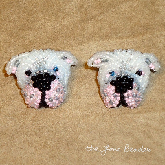 AMERICAN BULLDOG beaded dog earrings- sterling silver animal studs - Gift for Her (Ready to Ship)