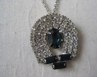 Blue Clear Sapphire Necklace Silver Vintage Pendant