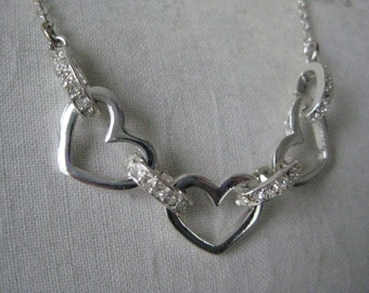 Heart Rhinestone Silver Necklace Vintage Clear