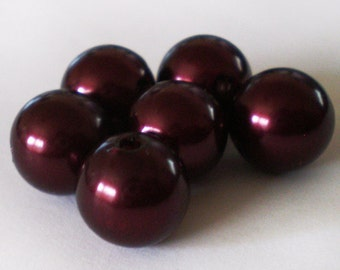 10pcs - 12mm Rich Wine Red round acrylic beads