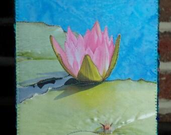 Lotus Mini Quilt Fiber Art Post Card