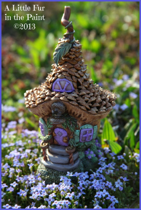 Ooak Mini Fairy House Cottage Polymer Clay Pinecone Shingles