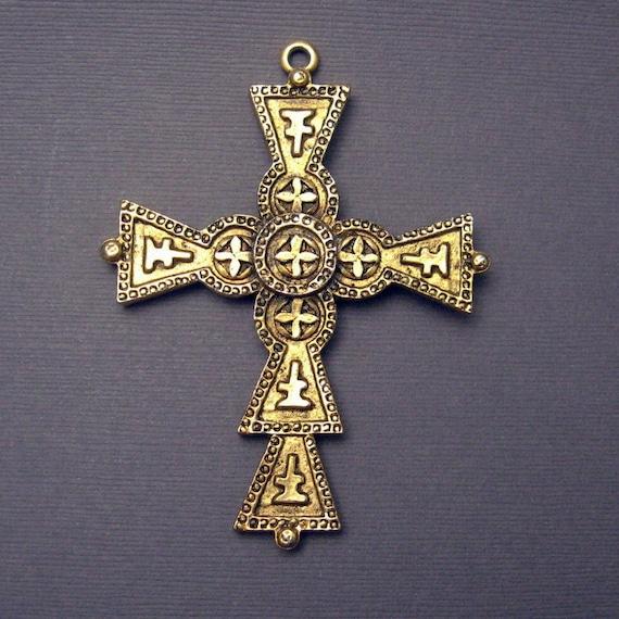 Huge Cross Pendant Vintage Signed Art C4471