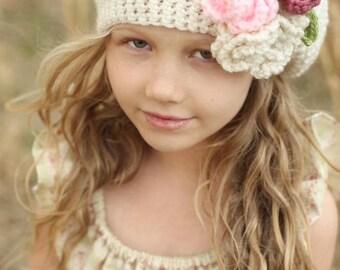 Girl's Crochet Hat - Beret hat - Boho hat -  white hat - Slouch hat - toddler hat - crochet flower hat - girls newborn hat - Easter hat