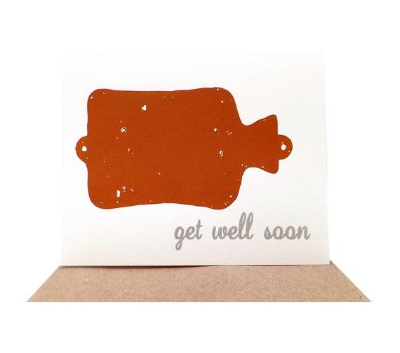 Get Well Soon -- Hot Water Bottle Card