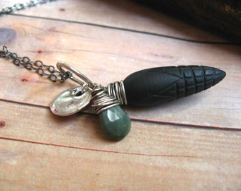 Corn Cob Pendant  Carved Black Onyx  Oxidized Sterling Silver  Moss Green Cats Eye Quartz  Wire Wrapped Briolette