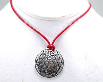 Gorgeous Large Flower of Life Pendant on Red Leather