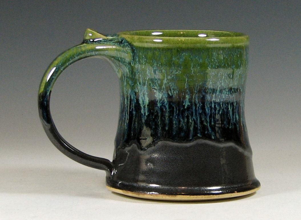 Small Cup Coffee Mug Ceramic Teacup Glazed In Gray Green