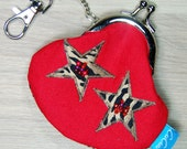 Mini Treasures Purse - Clip Frame - Star - Leopard Print - Red - Black -  Lobster Clasp - Bus Change - Parking Money - Gift