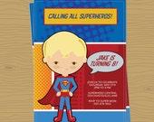 Calling All Superheros Party Invitation
