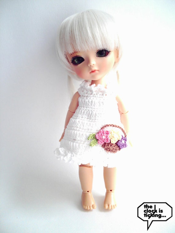 SALE Flower basket mini dress with frills (White) for Middie Blythe or Lati