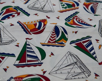 Amazing Colorful Sailboats- Vintage Fabric Novelty Nautical Boats Ocean Beach