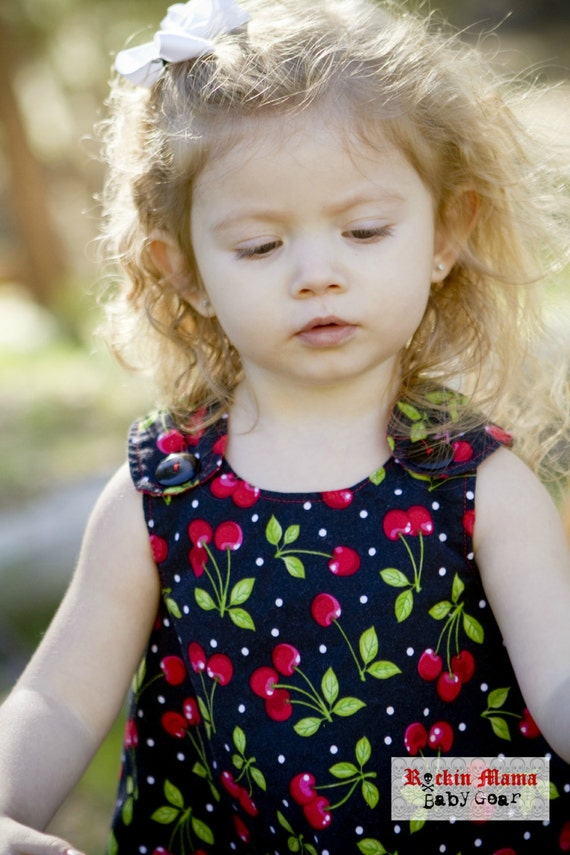 Order by Oct 23 - STORE CLOSING - Last One - Rockabilly Cherry and Polka Dot - Cherries Baby Pinafore Dress and Diaper Cover