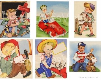 Darling Little Boys 1 Digital Collage  from Vintage Greeting Cards - Instant Download
