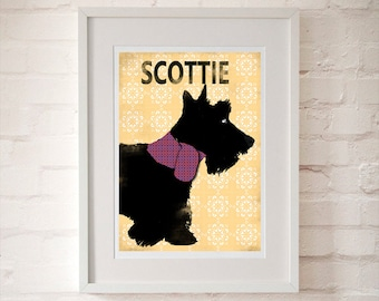 Scottish Terrier Dog illustration - fine art print, scottie , dog art, breed, dog lover,Aberdeen terrier
