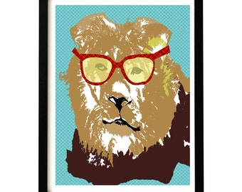 Lion with sun glasses on - Nursery decorating ideas, baby nursery, lion, king lion, nursery lion art