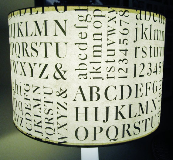 ABC's typographic lamp shade, paper drum shade 15x10