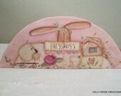 Folk Art, Handpainted Door Crown, Primitive, Bunny, Sheep, Spring