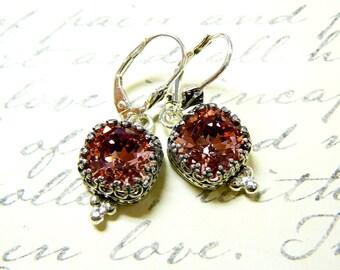 Vintage Sterling Silver Tiara Crown like bezel with Antique Pink Swarovski Crystal Earrings - Wedding