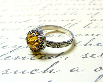 Roxy Ring - Beautiful Gothic Vintage Sterling Silver Ring with Rose cut Golden Citrine and Heart Bezel