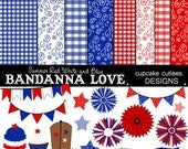 Summer Bandanna- Red white and blue  Digital Clipart Elements and Papers Commercial use INSTANT DOWNLOAD