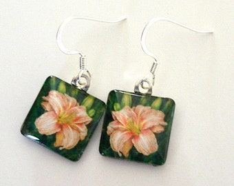 Daylily Jewelry Earrings Peach Pink Flower Square Art Glass