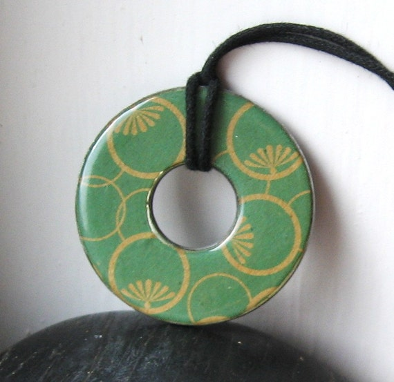 Lovely Earthy GREEN Upcycled Origami Paper Washer Hardware Pendant Necklace
