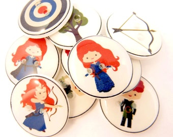"10 Red Haired Princess Buttons.  Archery or Bow and Arrow Themed Sewing Buttons. 3/4"" or 20 mm round."