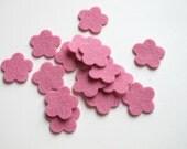 Pink Felt Flowers, Set of 15, DIY Wedding, Party Supply, Confetti, Applique, Scrapbooking, Hair Band Supply, 100% Wool Felt