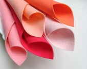 Wool Felt Set, Five Sheets, Shades of Coral Pink, 8 x 12 Inches Each, 1mm Thick felt, Merino Wool