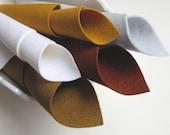 100% Merino Wool Felt, Precious Metal Color Story, 8 x 12 Sheets, Felt Set, White, Bronze, Silver, Gold, Brass, Autumn Colors