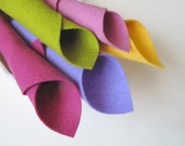 100% Wool, Felt Fabric Sheets, Fairy Color Story, Mulberry, Rose Pink, Butter Yellow, Spring Green, Thistle, Felt Flowers,  Hair Clip Supply