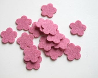 Pink Felt Flowers, Set of 15, DIY Wedding, Party Supply, Confetti, Applique, Scrapbooking, Hair Band Supply, 100% Wool Felt