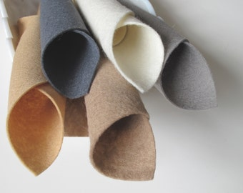 100% Wool, Felt Color Story, Camel and Grey, 8 x 12 Inch Sheets, Merino Wool, Waldorf Handwork, Needlework, Washable, Floss, Wool Stuffing