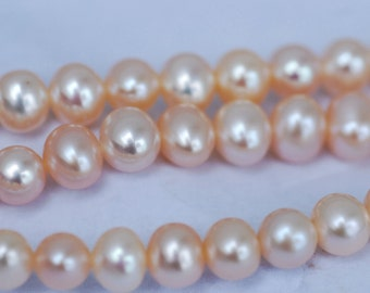 """Freshwater Pearl AAA 7-8mm Natural Champagne color Round off oval potato Pearl----15"""" full strand--great quality 40% OFF"""