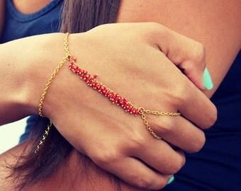 LOVMELY HAND CHAIN. bracelet. slave bracelet. Coral / red turqouise or white