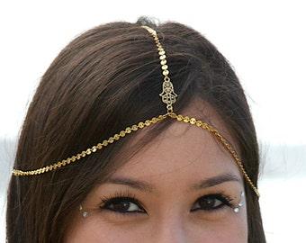 HAMSA HEADCHAIN. chain headpiece. head chain. hand of fatima