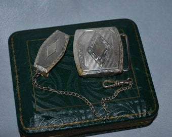 1920 1930s Vintage Antique Sterling Watch Chain Fob and Matching Buckle Set. In Gift Box.  Art Deco Diamond Design
