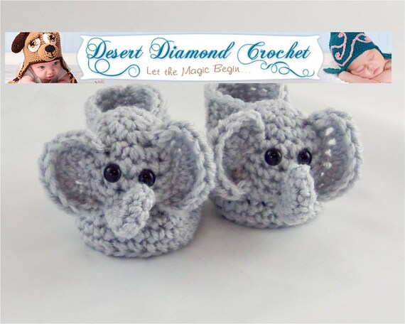 Elephant Baby Booties - 5 Sizes - Made To Order