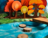 Wooden Toy, PlaySilk Creek and Natural Bridge Set - Landscape Play / Waldorf Toys